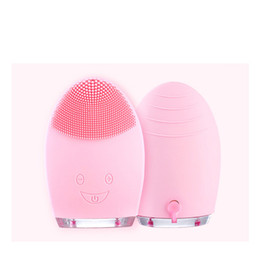Wholesale face vibrating massager - IP88 Waterproof Electric Face Cleanser Silicone Cleansing Instrument Vibrate Pore Clean Brush Wireless Ultrasonic Skin Care Spa Massager