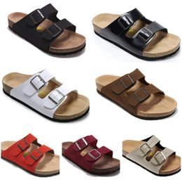Wholesale Black Sew - Free Shipping 2018 birkenstock Women and men Arizona sandals Flat Sandals Platform, Casual Beach Slippers(with box)