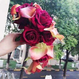burgundy roses bouquet 2018 - 2018 Waterfall Burgundy Wedding Flowers Artificial red Calla Lilies Wedding Bouquets Bridal Bouquets De Mariage Rose