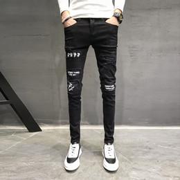 2019 passendes hosendesign für männer Herbst Neue Jeans Männer Marke Schwarz Slim Fit Casual Hosen Männer Persönlichkeit Patch Design Denim Skinny Jeans Hip Hop Hosen