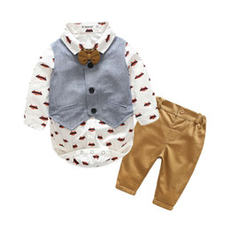 Wholesale Baby Boys Long Sleeve Vest - Long sleeve Baby boy's clothing sets infant clothes Baby Suit Boys Gentleman cotton Bow Tie+ bodysuit + Vest + trousers 4pcs set