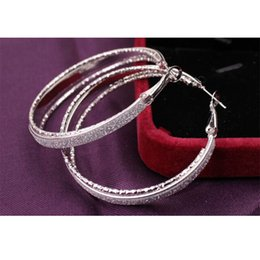 Wholesale Free Matting - 2018 New Arrival Fashion Alloy Matting Hoop Earrings Silver Gold For Women Top Quality Jewelry Wholesale Free Shipping