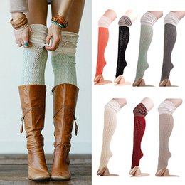 Wholesale Knitted Thigh High Stockings - Women Fashion Crochet Knit Over Knee Thigh High Long Stocking Boot Hosiery