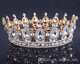 Farbtiara online-Vintage Gold Headpieces Hochzeit Krone Legierung Braut Tiara Barock Königin König Krone gold farbe strass tiara und krone Billig