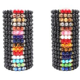 Wholesale Perfume Bracelets - 8mm Black Lava Stone Beads Essential Oil Perfume Diffuser Bracelet Chakra Stone Beads Bracelet Gold Silver Metal Stretch Yoga Jewelry