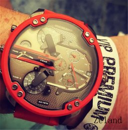 Wholesale Displays For Watches - Sports DZ Mens Watches Double pointer Big Dial Display 52mm Top Brand Luxury watch Quartz Watch Steel Band 7370 Fashion Wristwatches For Men