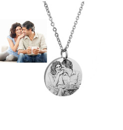 Wholesale Chain Link Images - Custom Image Engraved Necklace Stainless Steel Disc Engraving Blank Necklace Personalized Name Photo Jewelry Dropshipping wholesale