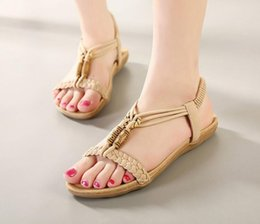 599fb6079d44b3 Spring and summer fashion new Bohemia women sandals with flat shoes  comfortable sandals shoes Beaded Free shipping