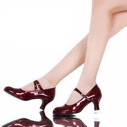 Wholesale M Jazz - Patent leather Mary jane women low heel shoes office career lady dress dancing shoes Latin jazz square shoes 5.5 cm heel height