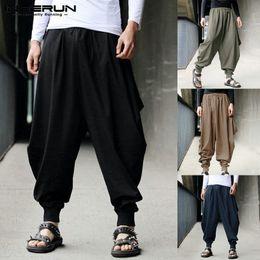 eb91c925f3f Mens Harem Pants Wide Leg Cross-pants Cotton Joggers Casual Streetwear Baggy  Trousers Men Drop Crotch Pants Plus Size 5XL 2018