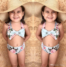 Wholesale Kids Floral Swimsuits - Baby little Girl Bow Tie Bikini Swim Bathing Suit For Kid High Waisy Swimwear Sea Biquini Infantial Floral Swimsuit