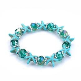Wholesale Handmade Stretch Bracelets - 9 Designs bohemian starfish turquoise beaded bracelets natural stone beaded bracelet women handmade stretch crystal bracelet jewelry
