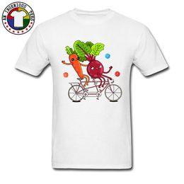 Canada World Vegan Day T-Shirt Blanc Eté / Automne 100% Coton O Cou Hommes Tops Tees Marque-Vêtements Carottes Cycle Rider Image Offre