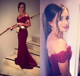 Wholesale Black Fancy Dress - New 2018 Burgundy Prom Dresses Fancy Off Shoulder Fiesta Lace Bodice Cap Sleeves Formal Evening Dresses Backless Cheap Bridesmaid Gowns