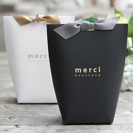 2019 scatole di biscotto blu all'ingrosso 100 pz Merci grazie scatola regalo di cartone di cottura di gioielli sacchetto di carta con fiocco shopping bag regalo Festival rifornimenti del partito 13.5X16.5 cm DHL