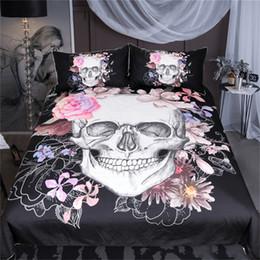 Biancheria da letto rosa nera piena online-Zucchero teschio floreale copripiumino biancheria da letto gotica fiori stampato biancheria da letto set copripiumino rosa e nero doppia pieno regina king size 3pz