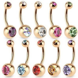 Wholesale Charm Belly Button Rings - 36Pcs Lot Hot Sale Unisex Charm Punk Golden Crystal Rhinestones Navel & Belly Button Rings Body Piercing Jewelry 9 Colors