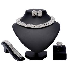 Серебряные ювелирные изделия dubai онлайн-Fashion Silver Ring Necklace Nigerian Wedding African  Jewelry Sets Dubai Fashion Women Jewelry Costume Wholesale Design