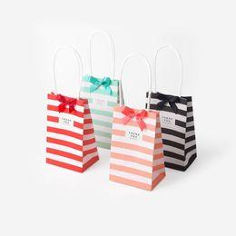 Wholesale Handbag Favor Box - Mini Lovely Striped Handbag Shape Paper Candy Boxes For Baby Shower Gift Box Birthday Wedding Party Favor Box ZA5914
