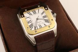 2019 смотреть xl Роскошный новый бренд мужчины два тона 100 XL смотреть автоматические механические часы коричневый кожаный золотой чехол Мужские спортивные оригинальные застежка наручные часы FU71 дешево смотреть xl