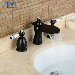 Wholesale Sink Bathtub Faucet - 3Pcs Faucet Blacked Basin Faucets Deck Mounted Bathroom Tap Sink or Bathtub Faucet 2 handles BA03
