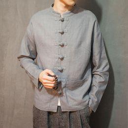 Costume de soie rouge en Ligne-Costume chinois des hommes automne en lin veste respirante gris bleu rouge boutons Tang costume chinois style décontracté extérieur confortable