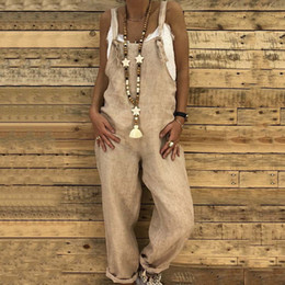 bd6f7217e18 plus size linen jumpsuit Coupons - 2018 Summer Women Rompers Strappy Flax  Long Jumpsuits Casual Solid