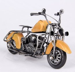 Wholesale motorcycle ornaments - Mettle Hot Sale Iron Handmade Length 24 CM Metal Decoration Antique Model Motorcycle For Bar Decoration