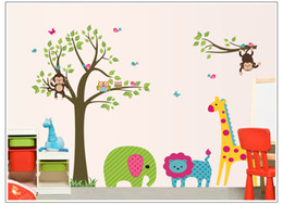 Wholesale Giraffe Sheets - Drop ship Acceptable Monkeys Owls Giraffe Childrens Wall Art Stickers Huge Sheets 60*90cm
