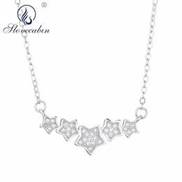 da0148af311f SloveCabin Wholesale 925 Sterling Silver Crystal Zircon Star Colgantes  Collar de Cadena Larga Envío Gratis Cristal Jewlery Making