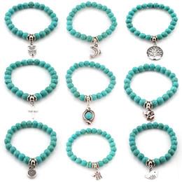 Wholesale beads elephant bracelet - drop ship Natural Stone Turquoise Beads Bracelets Owl Elephant Tree of Life Cross Palm Charm Buddha Bracelet Bangle Cuffs for Women 162425