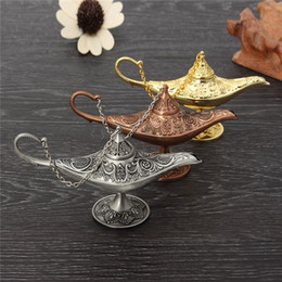 Wholesale Aroma Home Wholesale - Excellent Fairy Tale Aladdin Magic Lamp Incense Burner Vintage Retro Tea Pot Genie Lamp Aroma Stone Home Ornament Metal Craft
