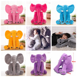 Wholesale baby giants - Baby Sleeping Pillow Elephant toy Stuffed Giant 40cm Animal Plush Soft Cuddling Toy Baby Sleeping Soft Pillow Toy 6colors FFA131 50pcs