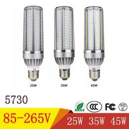 aluminium-kühler Rabatt Mais-Birnen der hohen Leistung LED SMD 5730 E26 E27 25W 35W 45W LED Mais-Lampen-Birne AC85-265V Aluminium-Ventilator, der kein Aufflackern kühlt