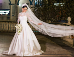 Wholesale Cheap White Church Dresses - Sheer Long Sleeves Vintage Wedding Dresses 2018 High Neck Lace Top A Line Court Train Satin Church Bridal Wedding Gowns Cheap Customized
