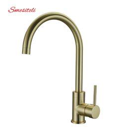 Wholesale Gold Sink Mixer - Smesiteli High Quality Brass Classic Gooseneck Single Lever 1-Hole Kitchen Sink Faucet Mixer Tap Brushed Gold Finish