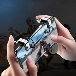 Controlador de jogo de telefone celular gamepad com botão de disparo gatilho l1r1 shooter joystick para iphone android jogo do telefone pad accesorios de Fornecedores de almofada do jogo para o iphone