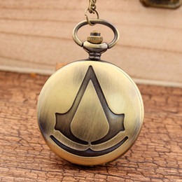 Wholesale Pocket Watch Games - Vintage Bronze Assassin's Creed Game Quartz Pocket Watch With FOB Necklace Chain For Women Mens Clock Silver Best Gifts Watches