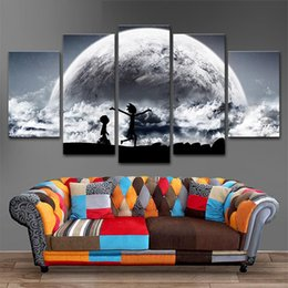 Wholesale Pictures Stars - 5 Panels Canvas Painting Black star Rick and Morty poster Wall Art Painting Modern Home Decor Picture For Living Room