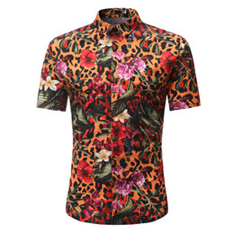 Wholesale striped top dress - Leopard Striped Print Shirts Flowers Vintage Men Blouse Hip Hop Boy Party Wear Short Sleeve Blusa Summer Beach Casual Tops 3XL