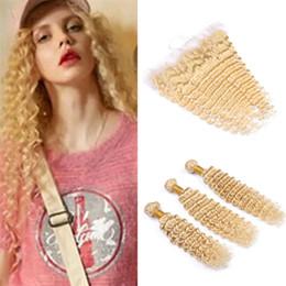 Vierge brésilienne vague profonde faisceaux de cheveux blonds avec fermeture frontale en dentelle # 613 Blonde profonds trames de cheveux humains bouclés avec pleins frontaux ? partir de fabricateur