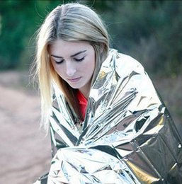 Wholesale aid cars - Portable WaterProof Emergency Blanket 160*210CM Survival Rescue Blanket Foil Thermal Space First Aid Rescue Curtain Outdoor EEA234