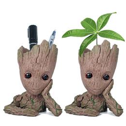Regali di vaso del fiore online-Contenitore Guardian of The Galaxy Pen 15cm Baby Groot Figure Flowerpot Toy Flower Pen Pot Regalo di natale AAA479