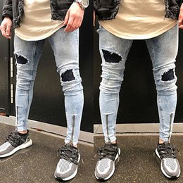 Wholesale Ankle Length Men S Coat - Fashion Men Ripped Skinny Biker Jeans Destroyed Frayed Slim Skinny Fit Pants Zipper Ankle-length Pencil Jeans