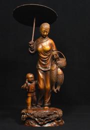 """Wholesale Wood Fish Carving - Chinese Buddhism Boxwood Wood Carved Mahakala Wrathful Deity Buddha Statue9"""" Chinese Folk Boxwood Wood woman Belle Boy Fish visit the parent"""