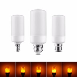 Wholesale Decorative Lights For Garden - E27 SMD2835 5W 7W 3 Modes LED Flame Effect Fire Light Bulbs Flickering Emulation Decorative Flame Lamps For Christmas Halloween Decoration