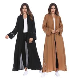 Vestidos casuales turcos online-Dubai Abaya Ropa Islámica de Encaje de Costura de Bata Turca Suelta Vestido de Las Mujeres Elegante Frente Abierto de Split Dobladillo Rebeca Vestido Musulmán Étnico
