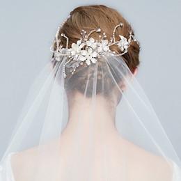 Wholesale bridal veil hair clip - Charming Floral Bridal Hair Vine Clip Silver Wedding Tiara Rhinestone Hair Accessories Women Jewelry Headpiece Veil Accessories