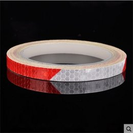 reflective bike decals Promo Codes - Reflective Stickers Motorcycle Bicycle Reflector Cycling Security Supplies Wheel Rim Decal Tape Safer Durable Not Fade Bike Light 2 5qt bbWW