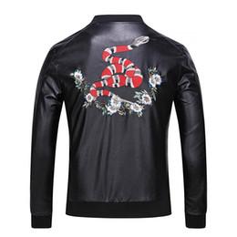 Wholesale Leather Outwear - 2017 mens Tiger head Leather jackets sportswear Fashion Windbreaker marks Zipper hoodies Coats Outwear men's north jacket tags black